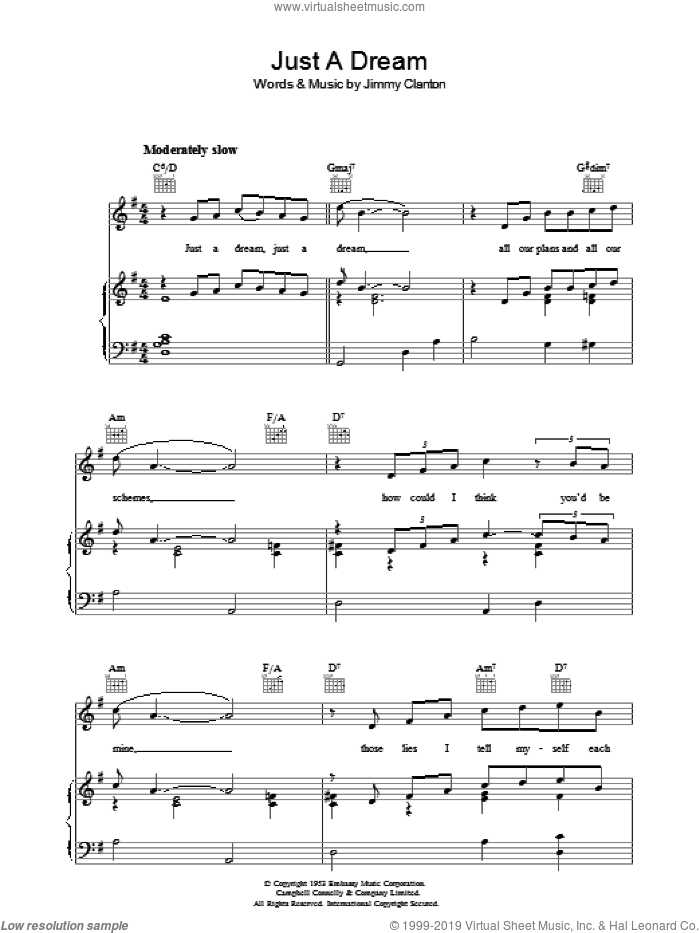 Just A Dream sheet music for voice, piano or guitar by Jimmy Clanton, intermediate voice, piano or guitar. Score Image Preview.