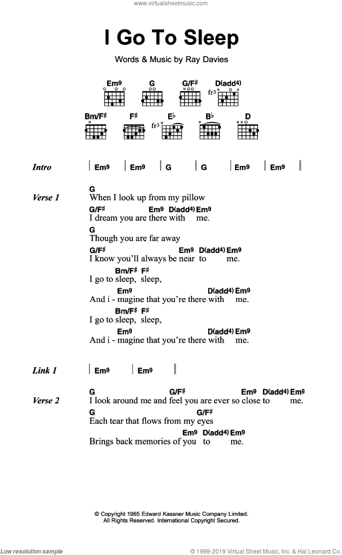 Kinks I Go To Sleep Sheet Music For Guitar Chords Pdf