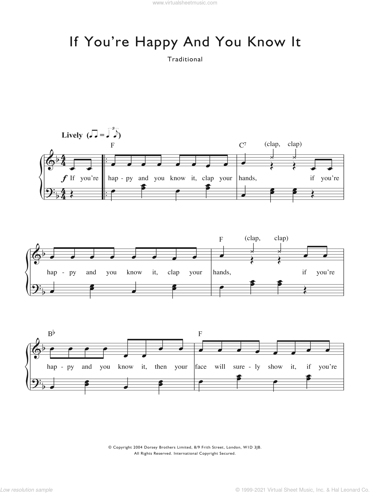 If You're Happy And You Know It sheet music for voice and piano by Alfred B. Smith. Score Image Preview.