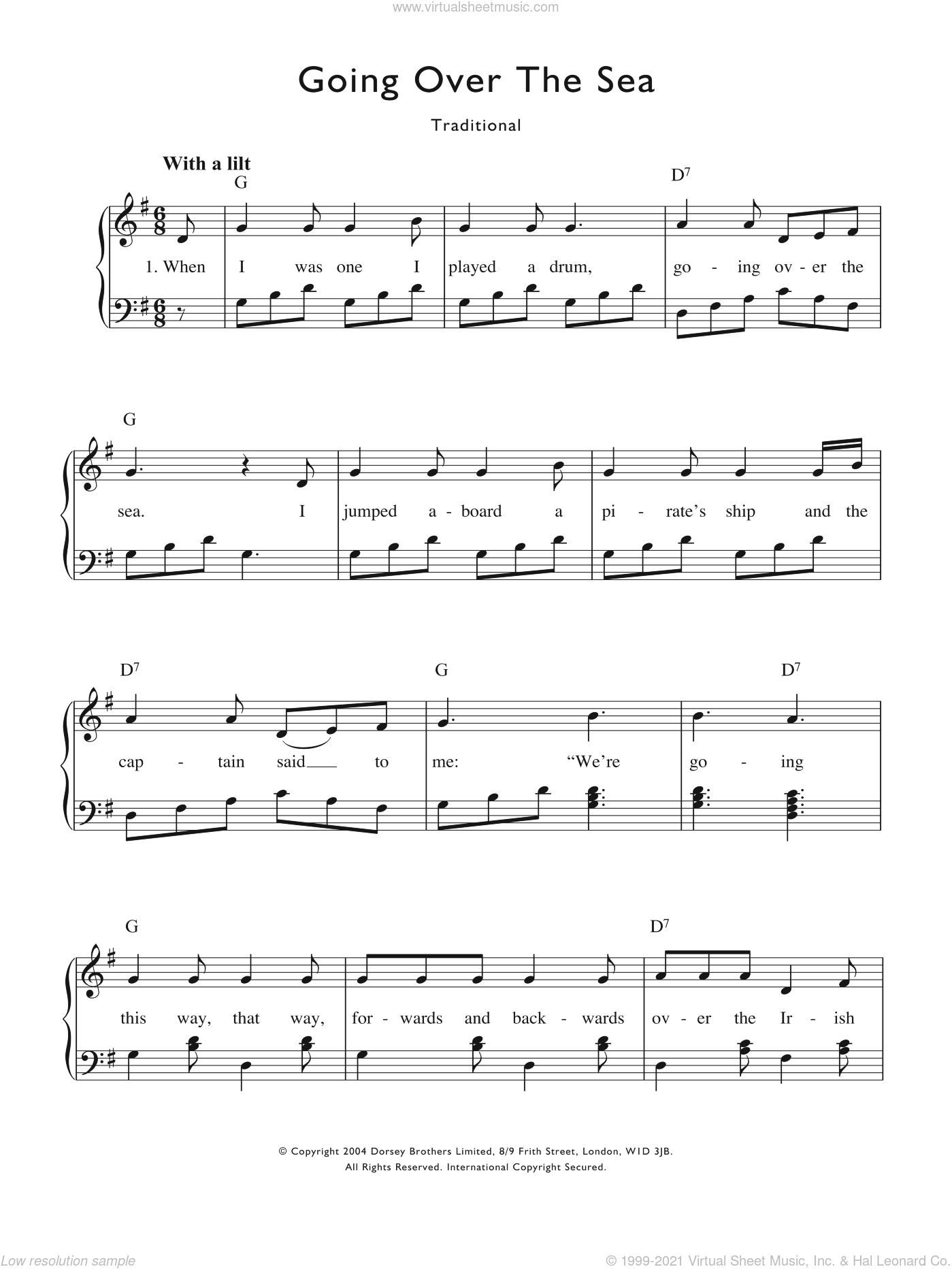 Going Over The Sea Sheet Music For Voice And Piano By Traditional Nursery Rhyme Miscellaneous