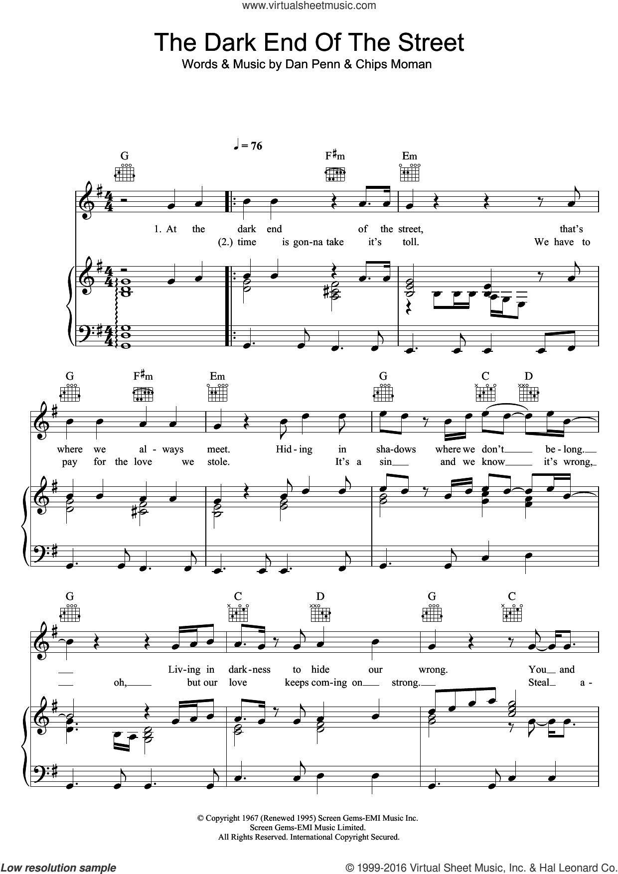 The Dark End Of The Street sheet music for voice, piano or guitar by Percy Sledge, Chips Moman and Dan Penn, intermediate skill level