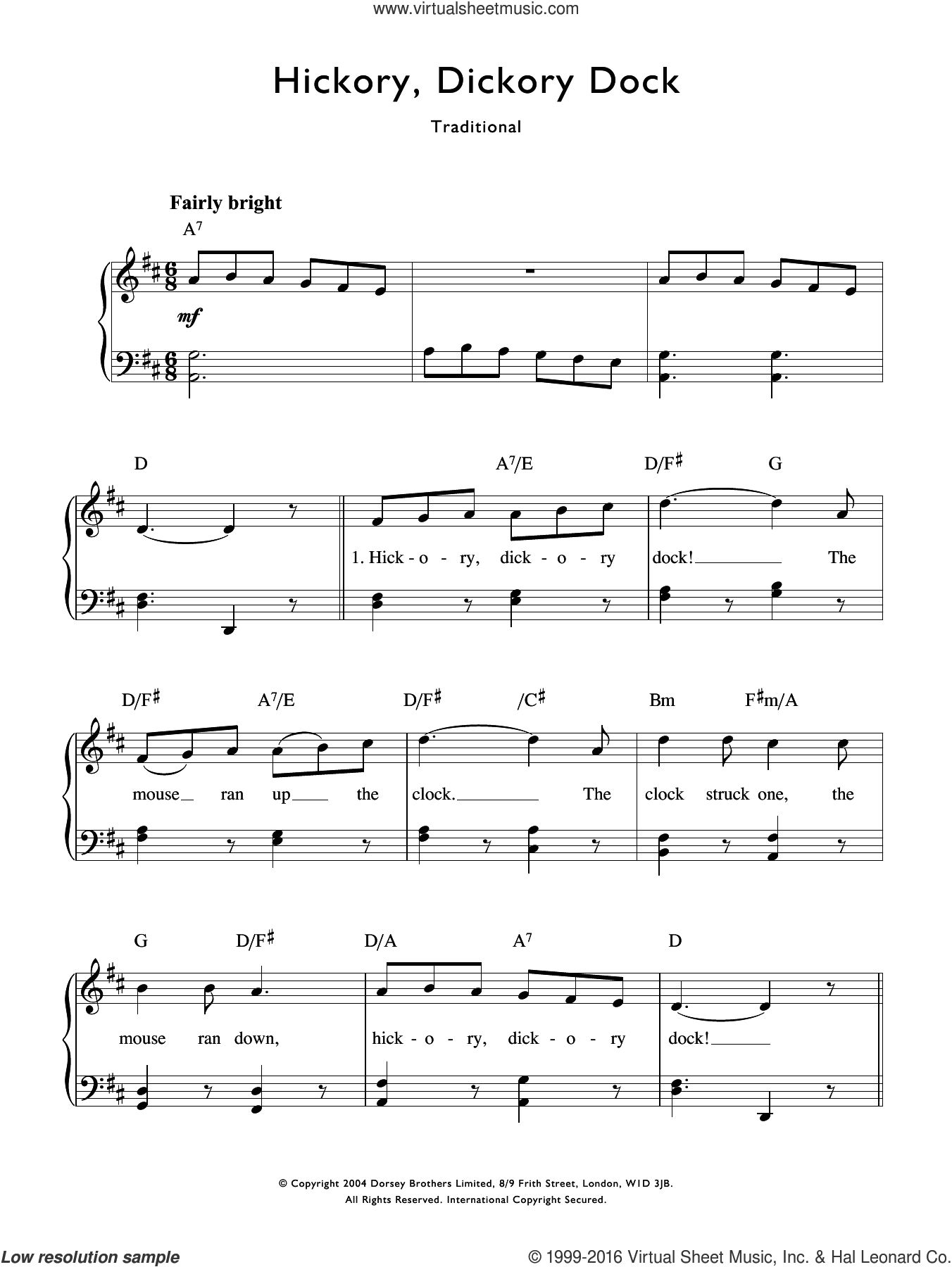 Hickory Dickory Dock sheet music for voice and piano. Score Image Preview.