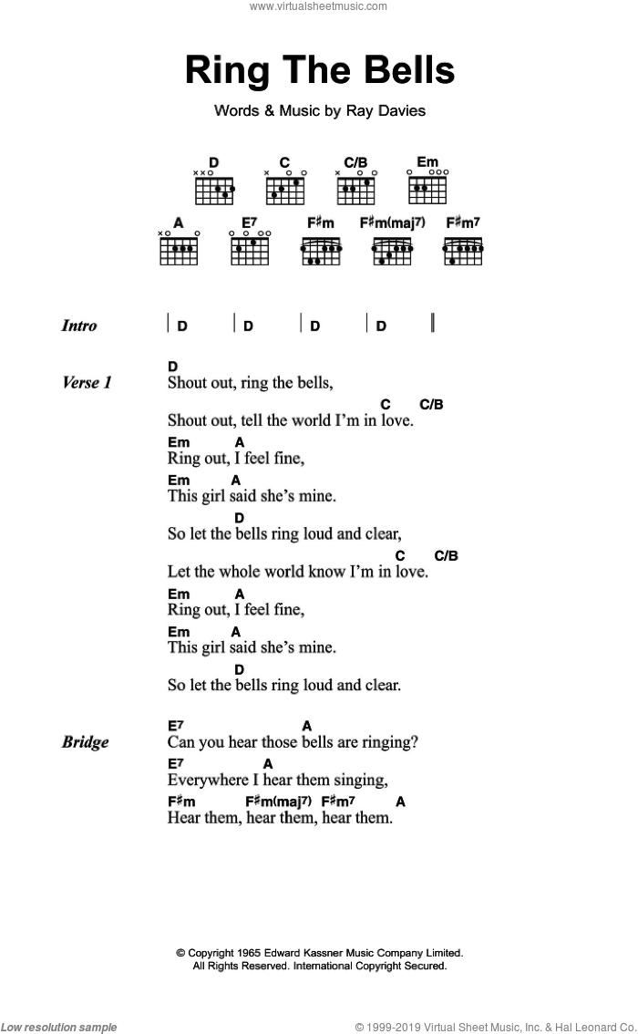 Ring The Bells sheet music for guitar (chords) by The Kinks and Ray Davies, intermediate skill level