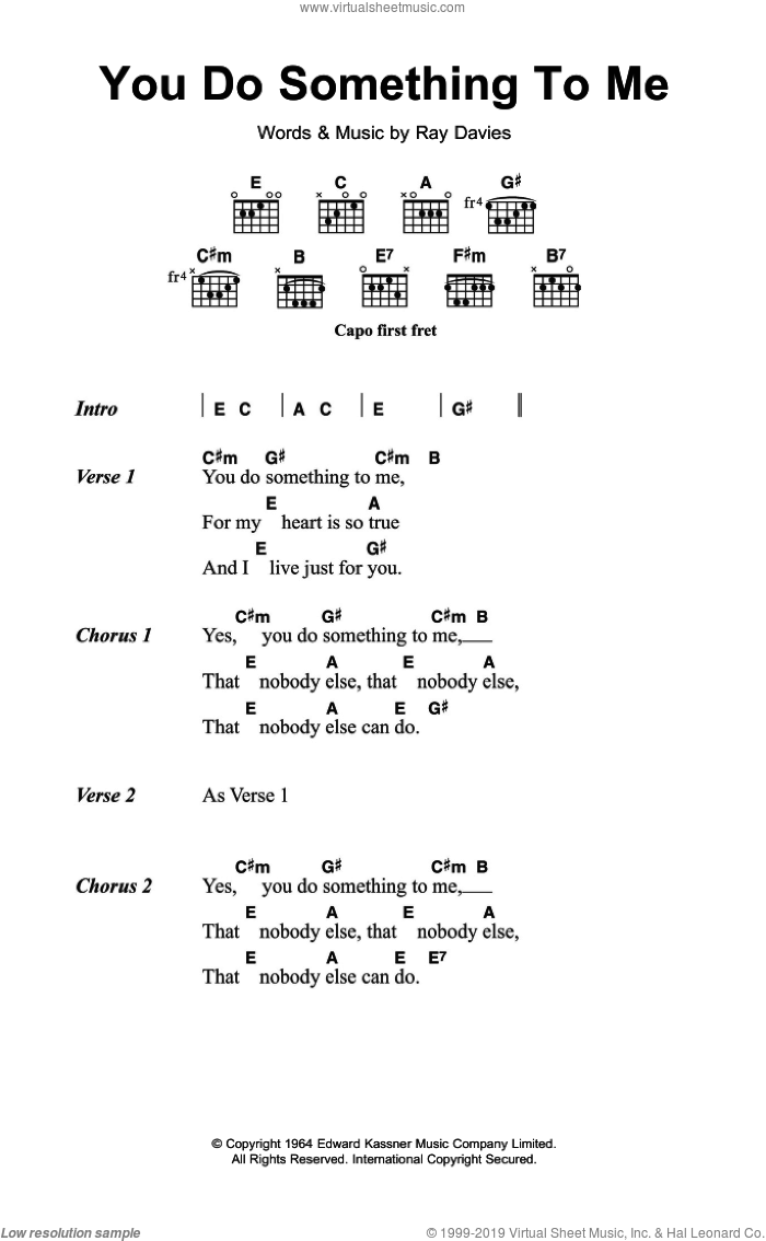 You Do Something To Me sheet music for guitar (chords) by Ray Davies