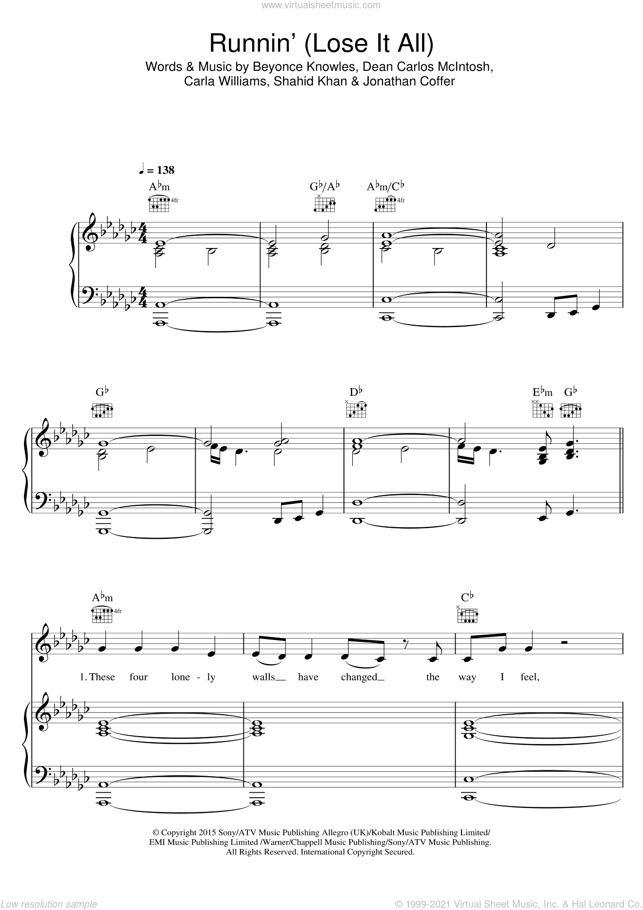 Runnin' (Lose It All) (featuring Beyonce and Arrow Benjamin) sheet music for voice, piano or guitar by Naughty Boy, Arrow Benjamin, Beyonce, Carla Williams, Dean Carlos McIntosh, Jonathan Coffer and Shahid Khan, intermediate skill level