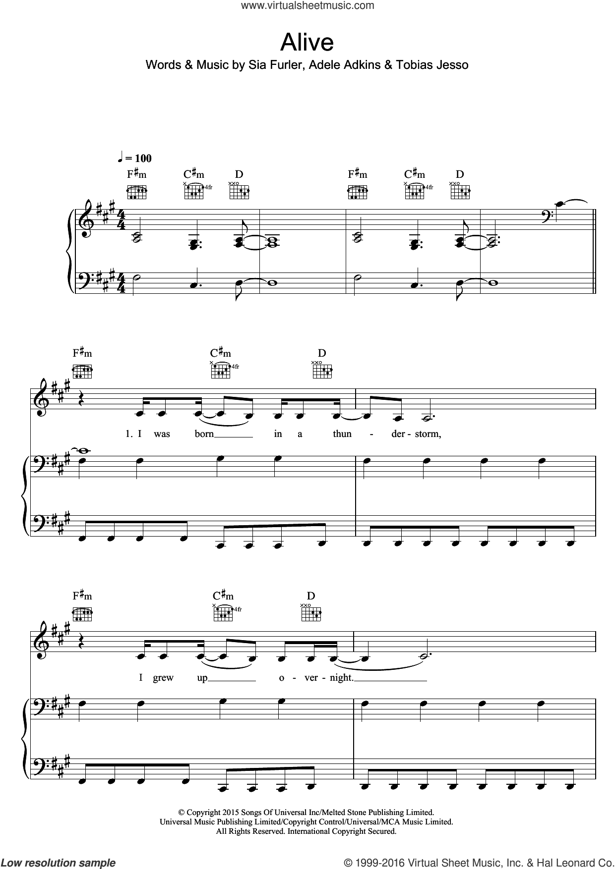 Alive sheet music for voice, piano or guitar by Sia, Adele Adkins, Sia Furler and Tobias Jesso, intermediate skill level
