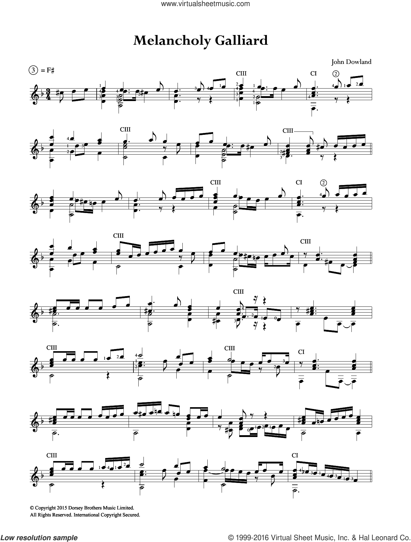 Melancholy Galliard sheet music for guitar solo (chords) by John Dowland