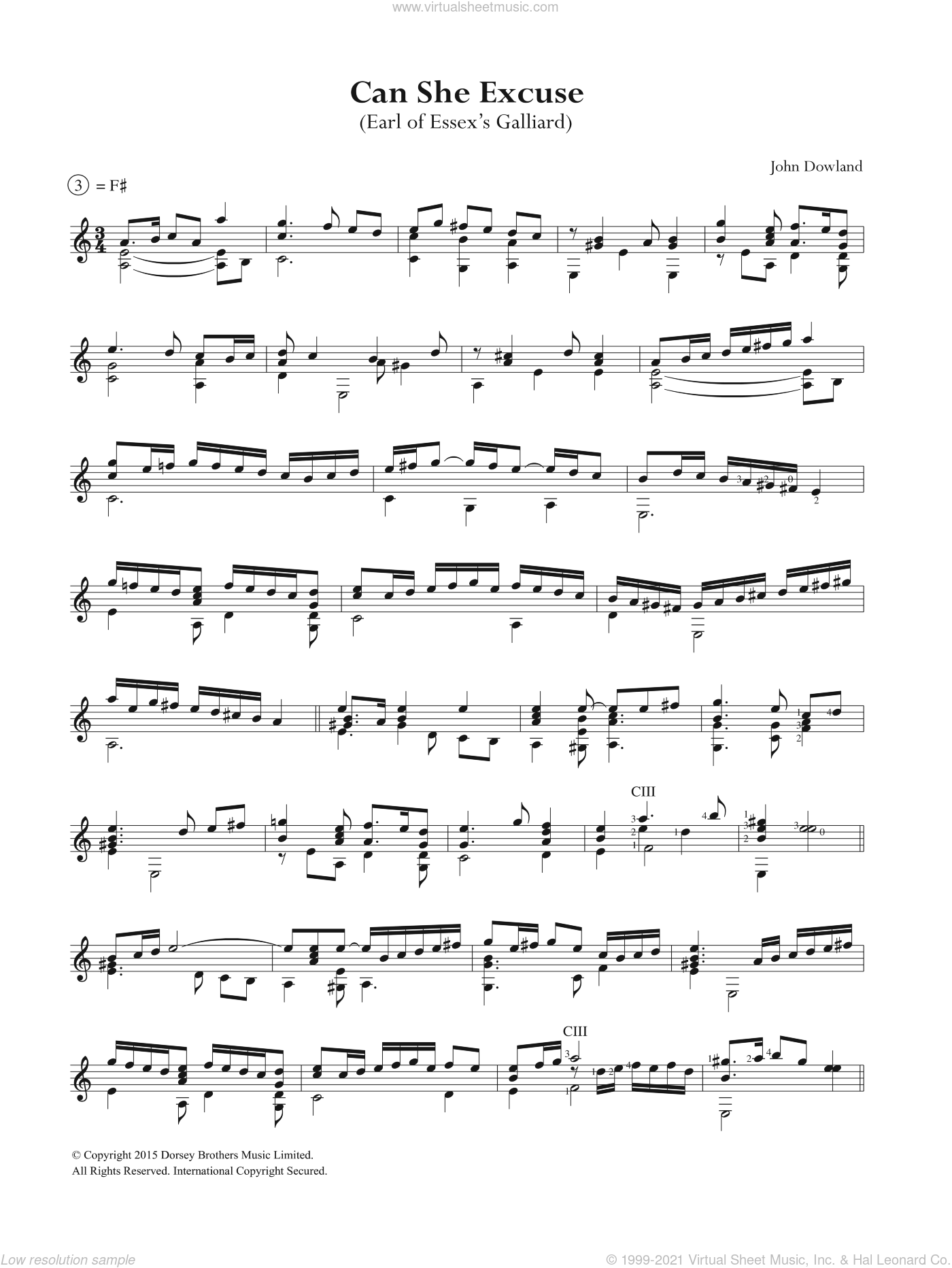 Can She Excuse sheet music for guitar solo (chords) by John Dowland, easy guitar (chords). Score Image Preview.