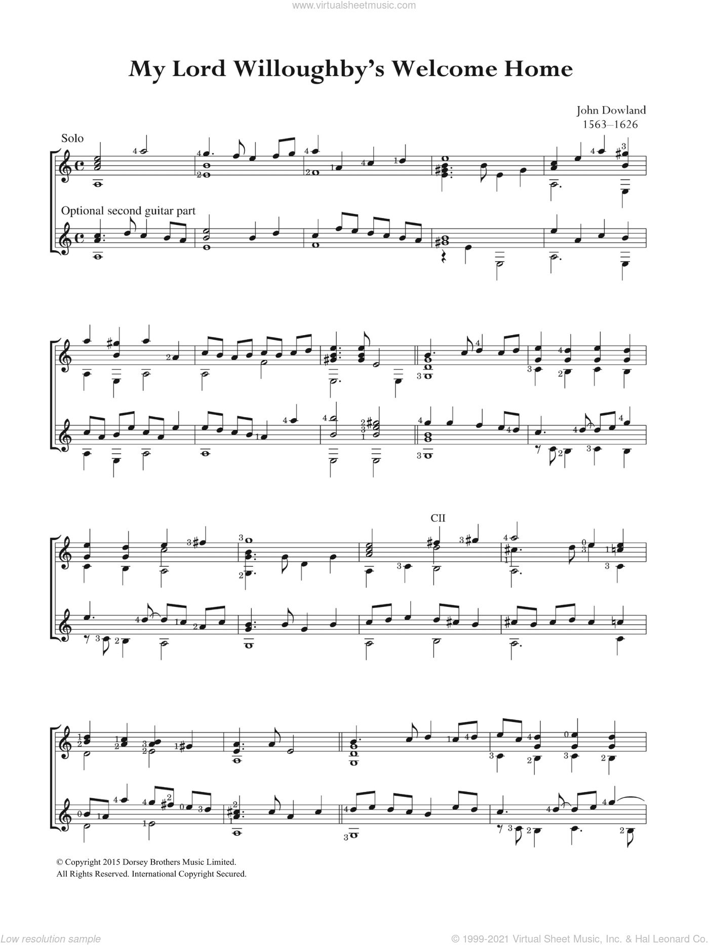 My Lord Willoughby's Welcome Home sheet music for guitar solo (chords) by John Dowland, easy guitar (chords). Score Image Preview.