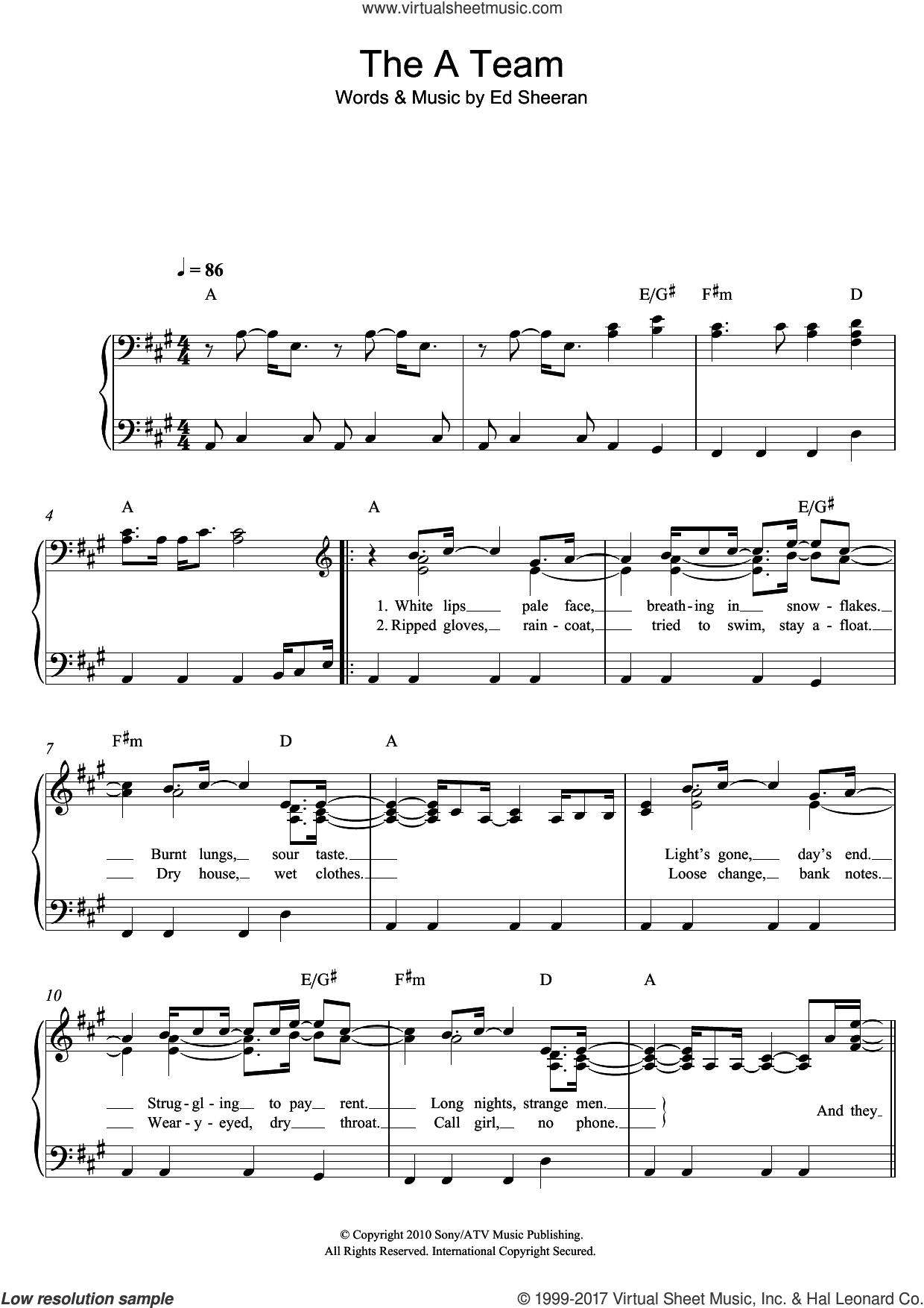 Sheeran   The A Team sheet music for piano solo [PDF] v15