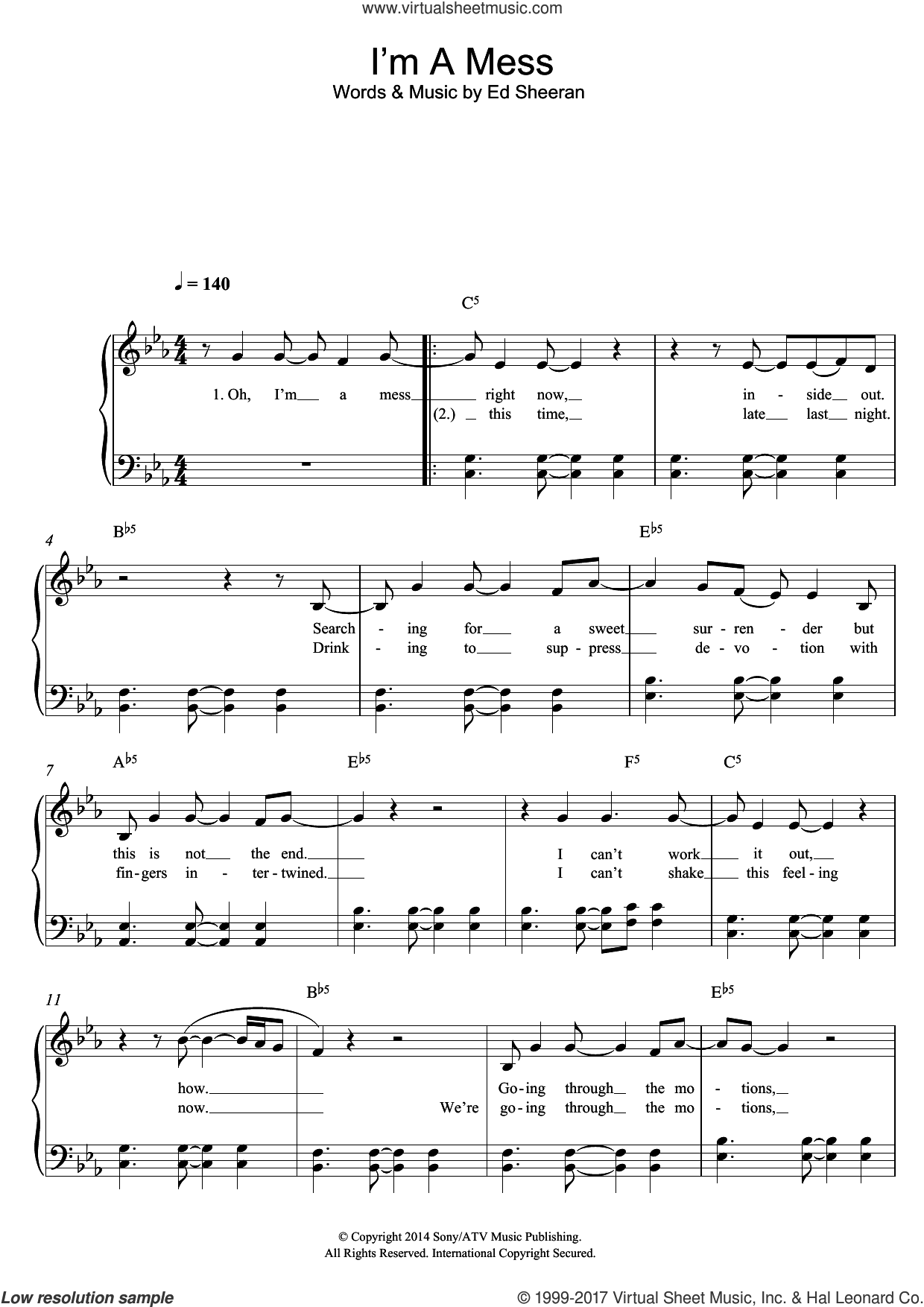 I'm A Mess sheet music for piano solo by Ed Sheeran, easy. Score Image Preview.