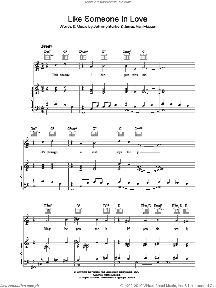 Like Someone In Love sheet music for voice, piano or guitar by Jimmy Van Heusen and John Burke. Score Image Preview.