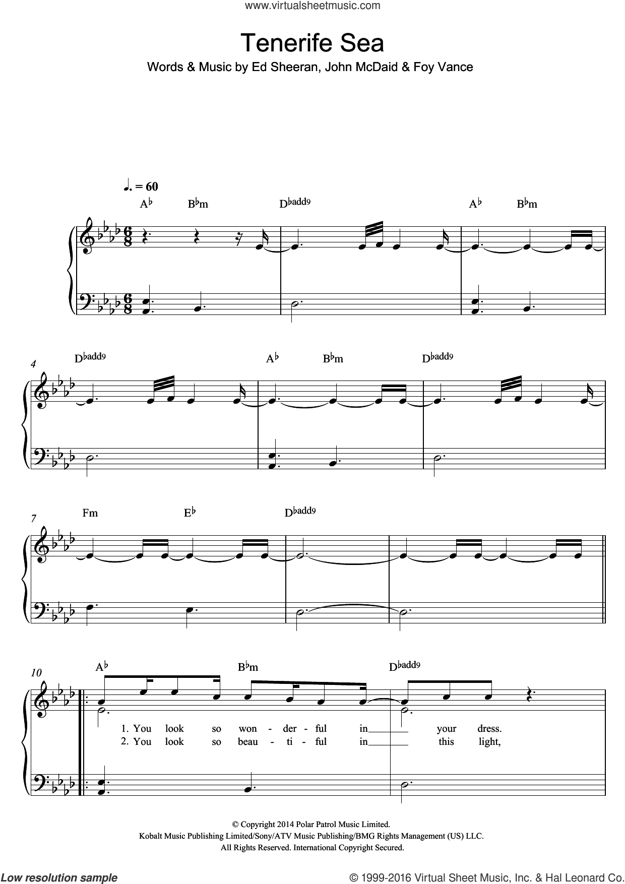 Tenerife Sea sheet music for piano solo by Ed Sheeran, Foy Vance and John McDaid, easy skill level