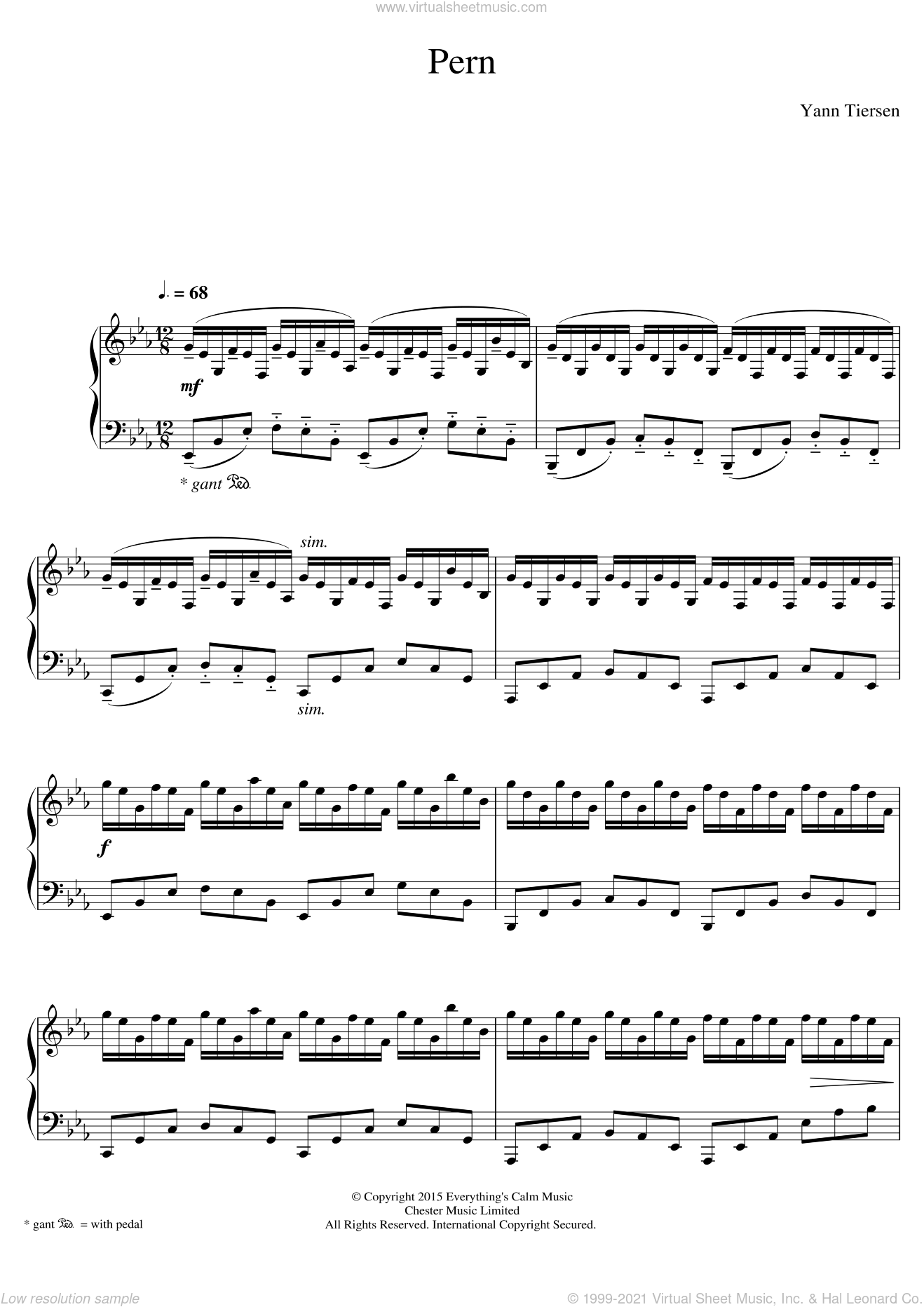 Pern sheet music for piano solo by Yann Tiersen, classical score, intermediate skill level