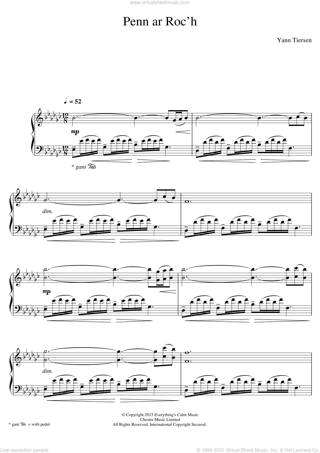 Penn Ar Roc'h sheet music for piano solo by Yann Tiersen, classical score, intermediate. Score Image Preview.