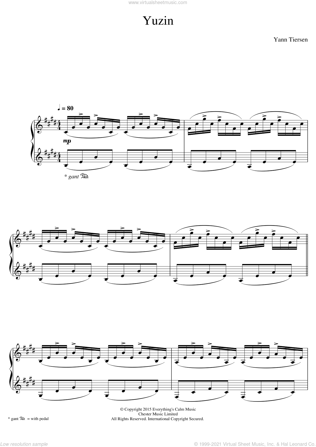 Yuzin sheet music for piano solo by Yann Tiersen, classical score, intermediate skill level