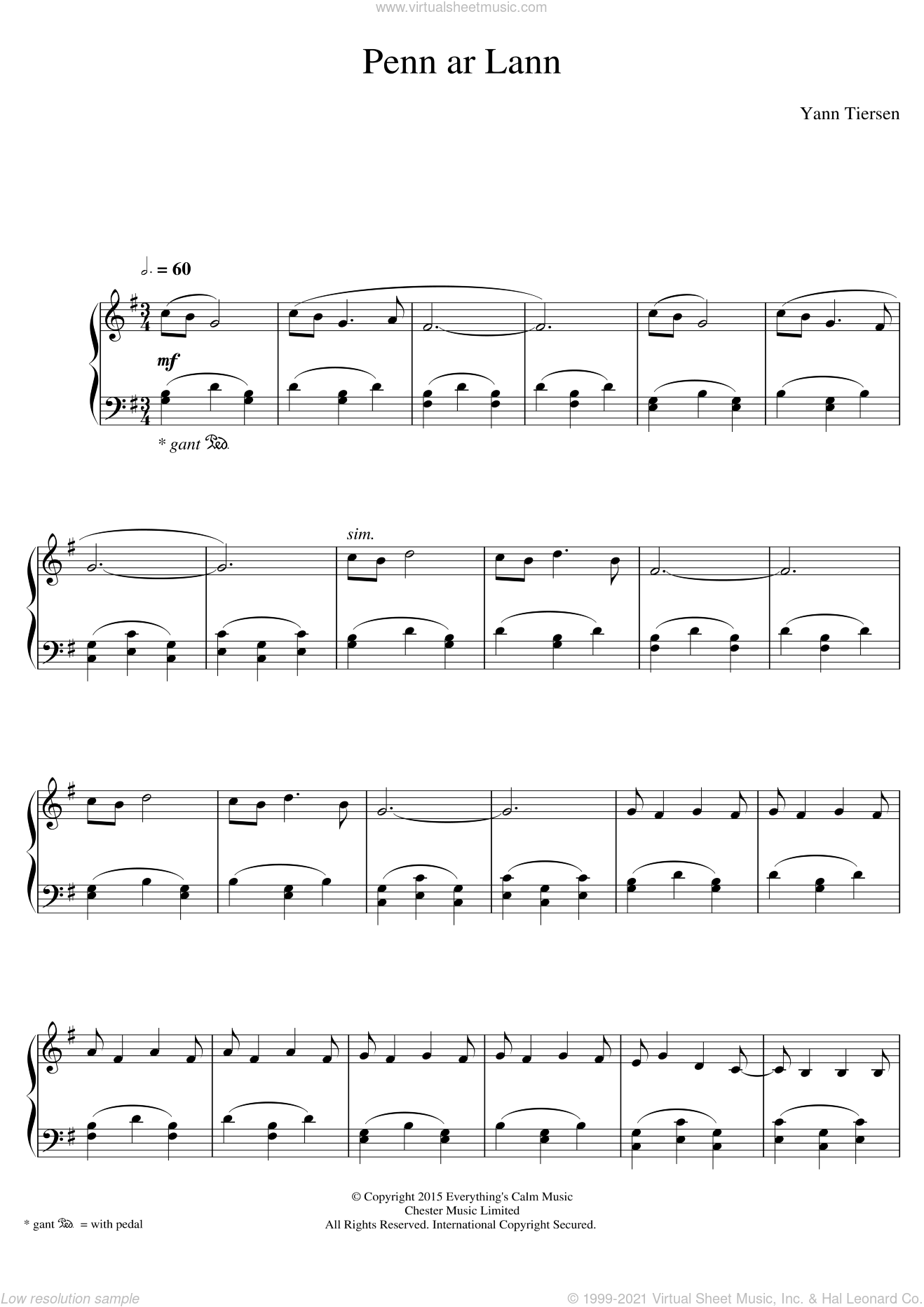 Penn Ar Lann sheet music for piano solo by Yann Tiersen, classical score, intermediate skill level