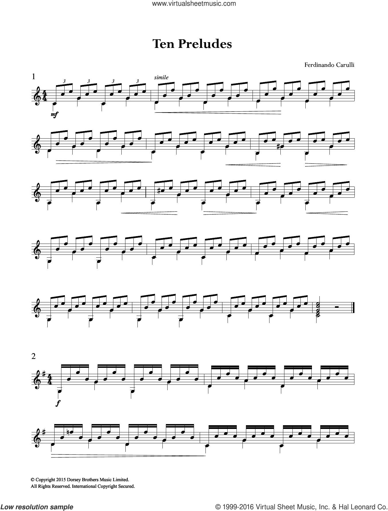 Ten Preludes sheet music for guitar solo (chords) by Ferdinando Carulli, classical score, easy guitar (chords)