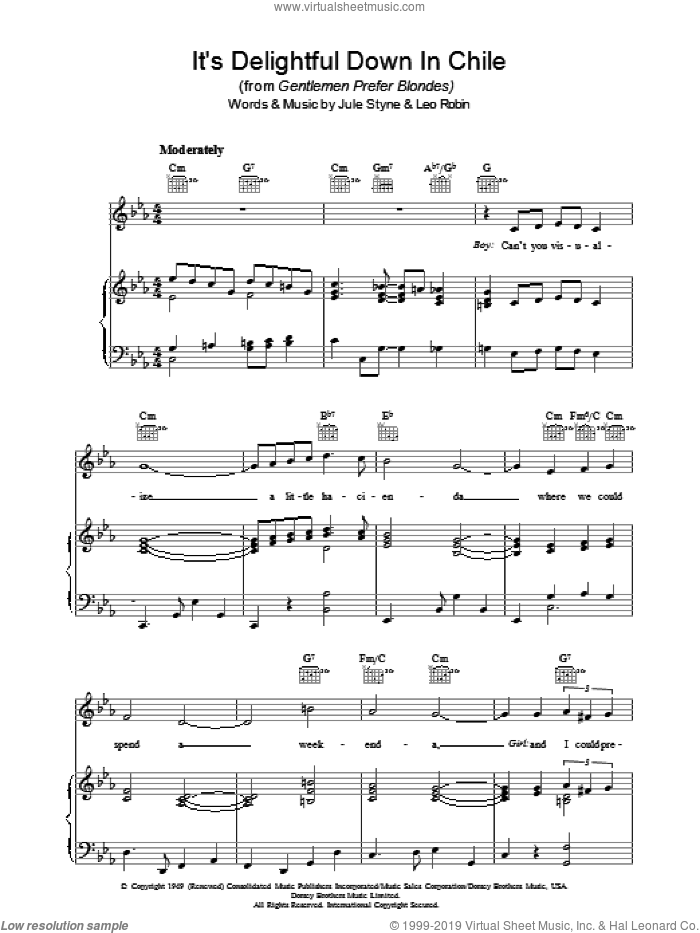 It's Delightful Down In Chile sheet music for voice, piano or guitar by Jule Styne and Leo Robin. Score Image Preview.