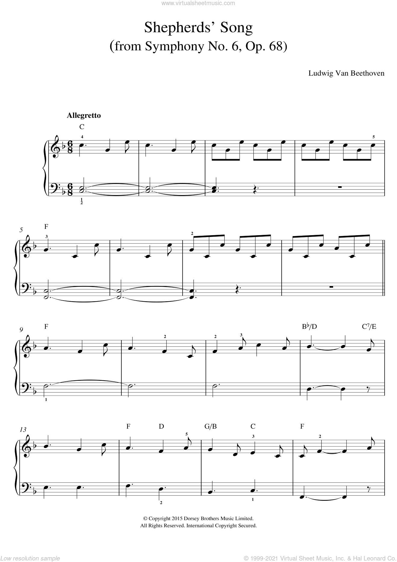 Shepherds' Song (from Symphony No. 6, Op. 68) sheet music for voice, piano or guitar by Ludwig van Beethoven, classical score, intermediate skill level