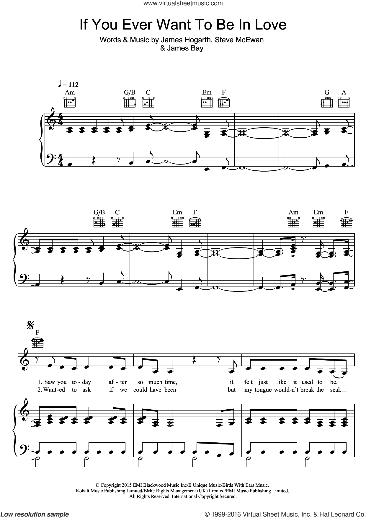 If You Ever Want To Be In Love sheet music for voice, piano or guitar by Steve McEwan, James Bay and James Hogarth. Score Image Preview.