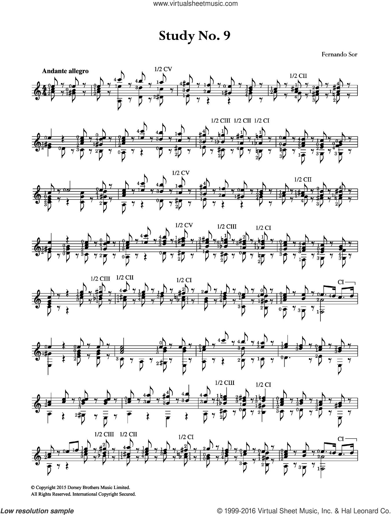 Study No. 9 sheet music for guitar solo (chords) by Fernando Sor, classical score, easy guitar (chords)