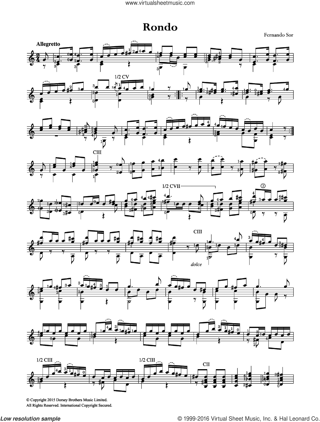 Rondo sheet music for guitar solo (chords) by Fernando Sor. Score Image Preview.