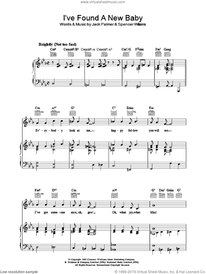 I've Found A New Baby sheet music for voice, piano or guitar by Jack Palmer and Spencer Williams. Score Image Preview.