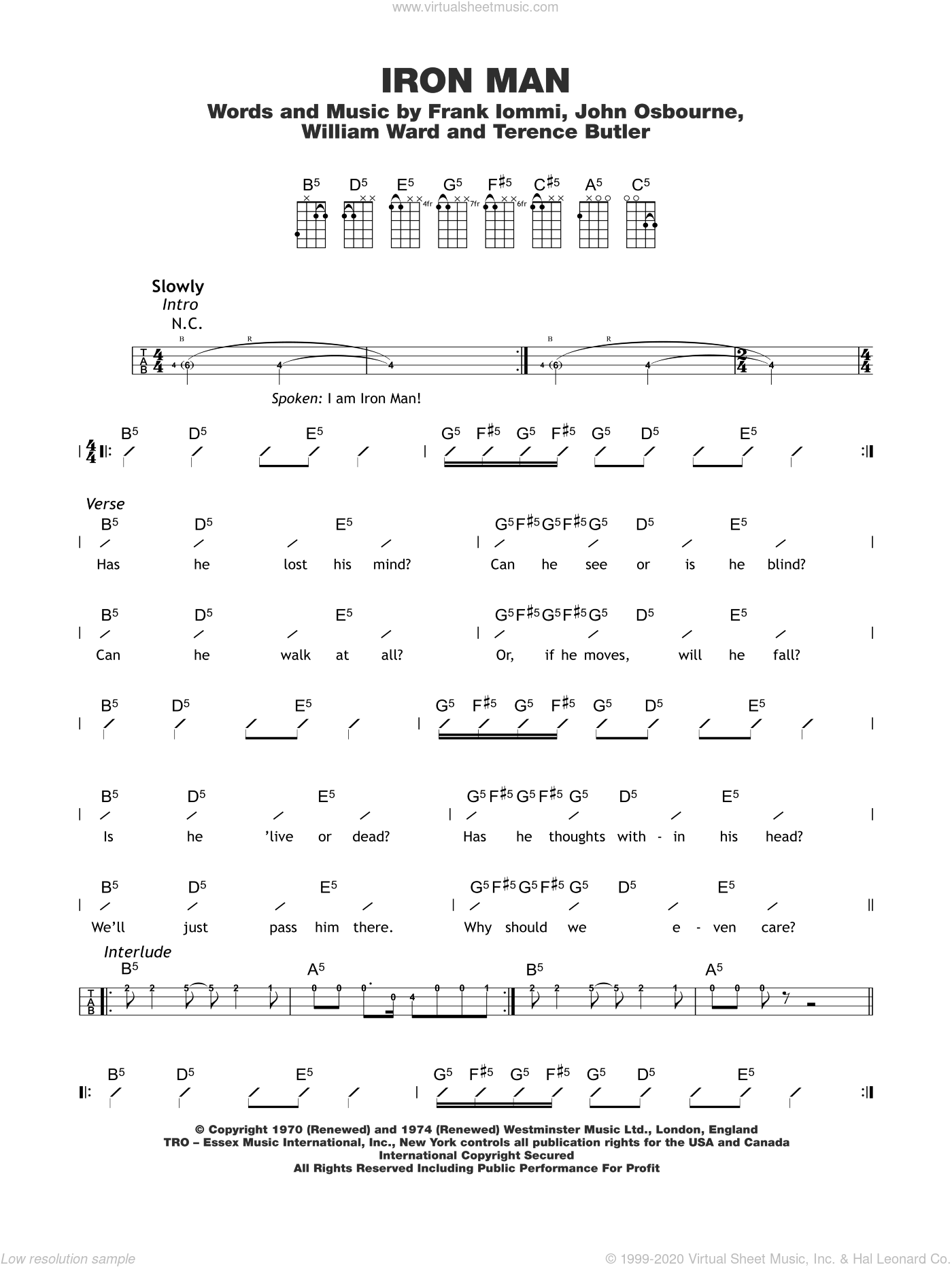 Iron Man sheet music for ukulele (chords) by Black Sabbath, intermediate. Score Image Preview.