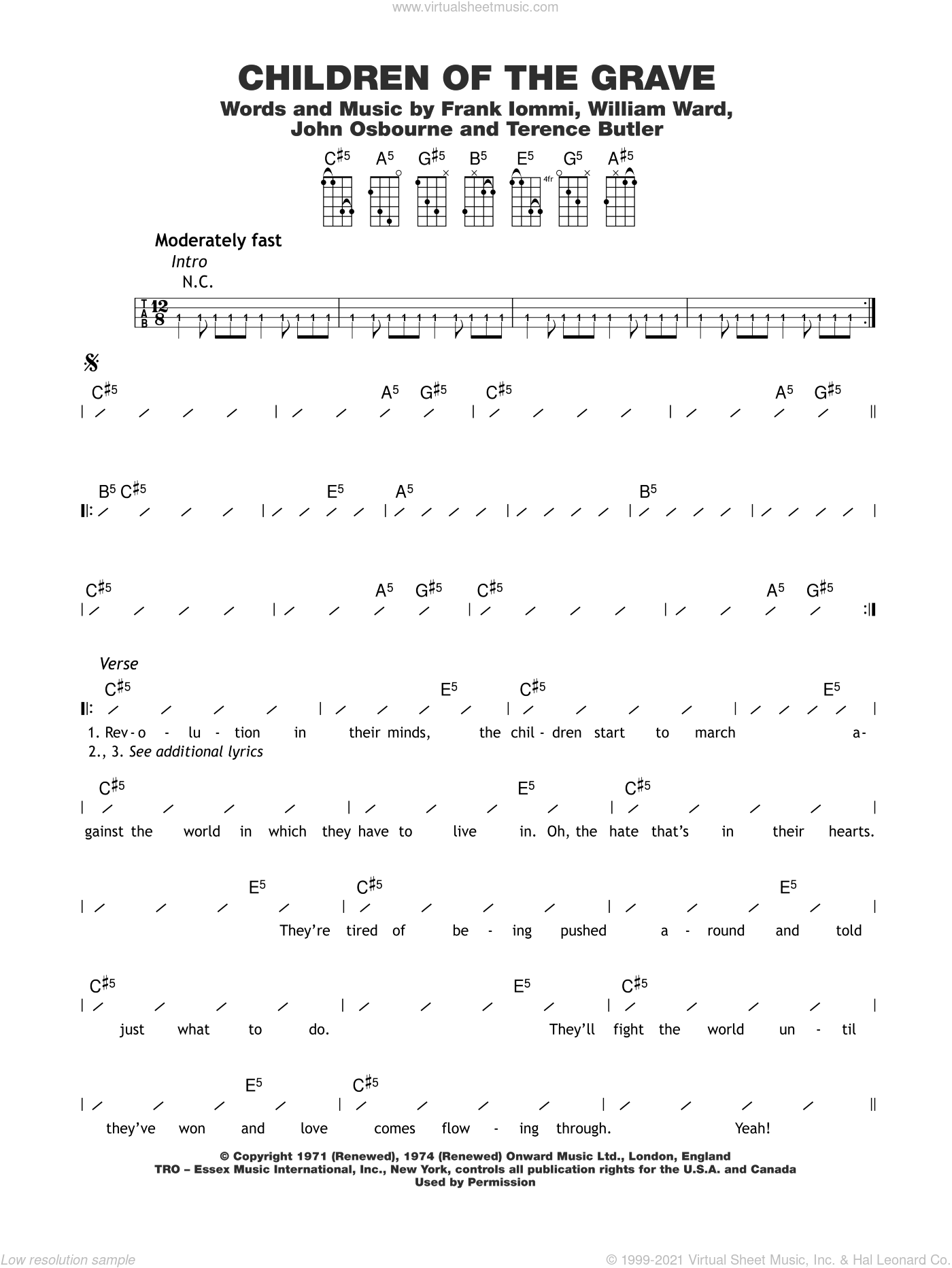 Children Of The Grave sheet music for ukulele (chords) by Black Sabbath, Frank Iommi, John Osbourne, Terence Butler and William Ward, intermediate skill level