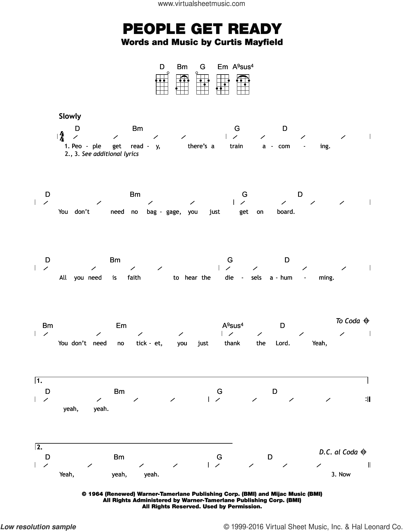 People Get Ready sheet music for ukulele (chords) by Curtis Mayfield and Eva Cassidy. Score Image Preview.
