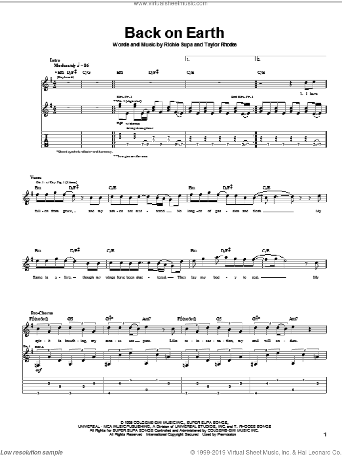 Back On Earth sheet music for guitar (tablature) by Ozzy Osbourne, Richie Supa and Taylor Rhodes, intermediate skill level