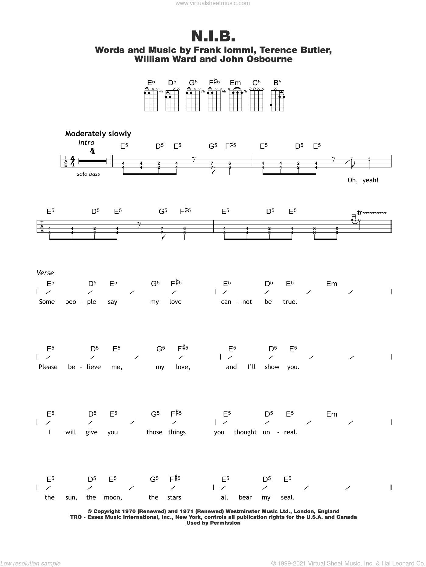 N.I.B. sheet music for ukulele (chords) by William Ward, Black Sabbath and Terrence Butler. Score Image Preview.