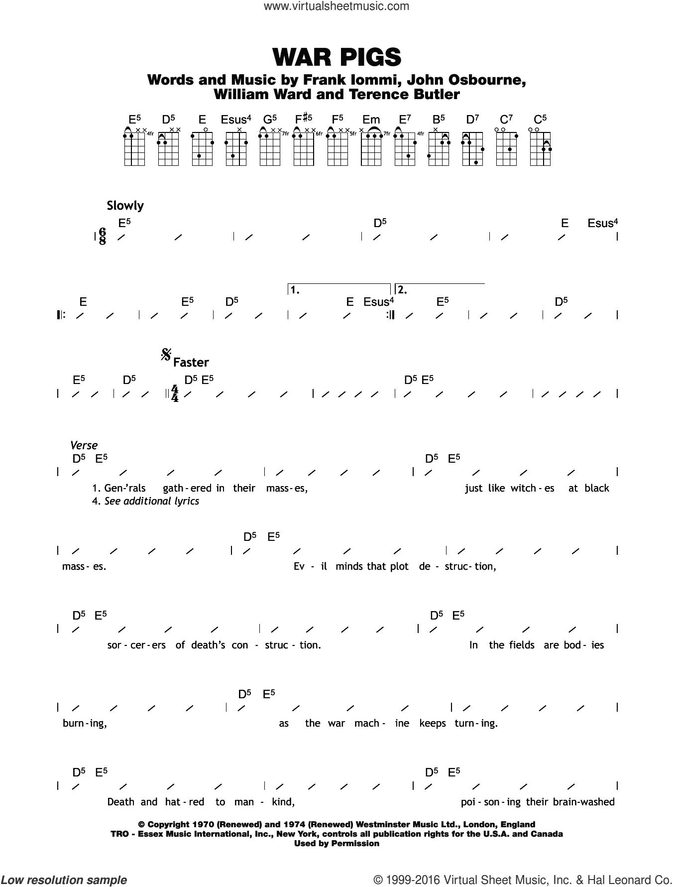 Sabbath War Pigs Sheet Music For Ukulele Chords Pdf