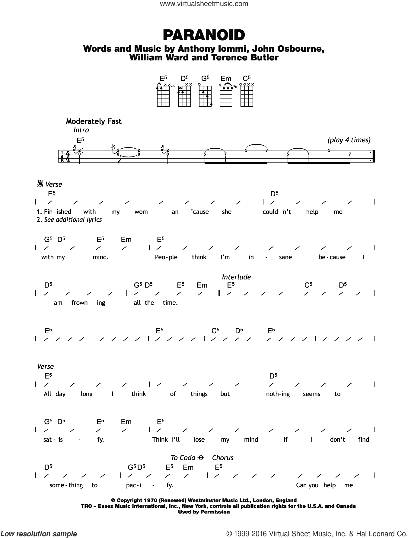 Paranoid sheet music for ukulele (chords) by Tony Iommi, Black Sabbath, Bill Ward and Ozzy Osbourne. Score Image Preview.