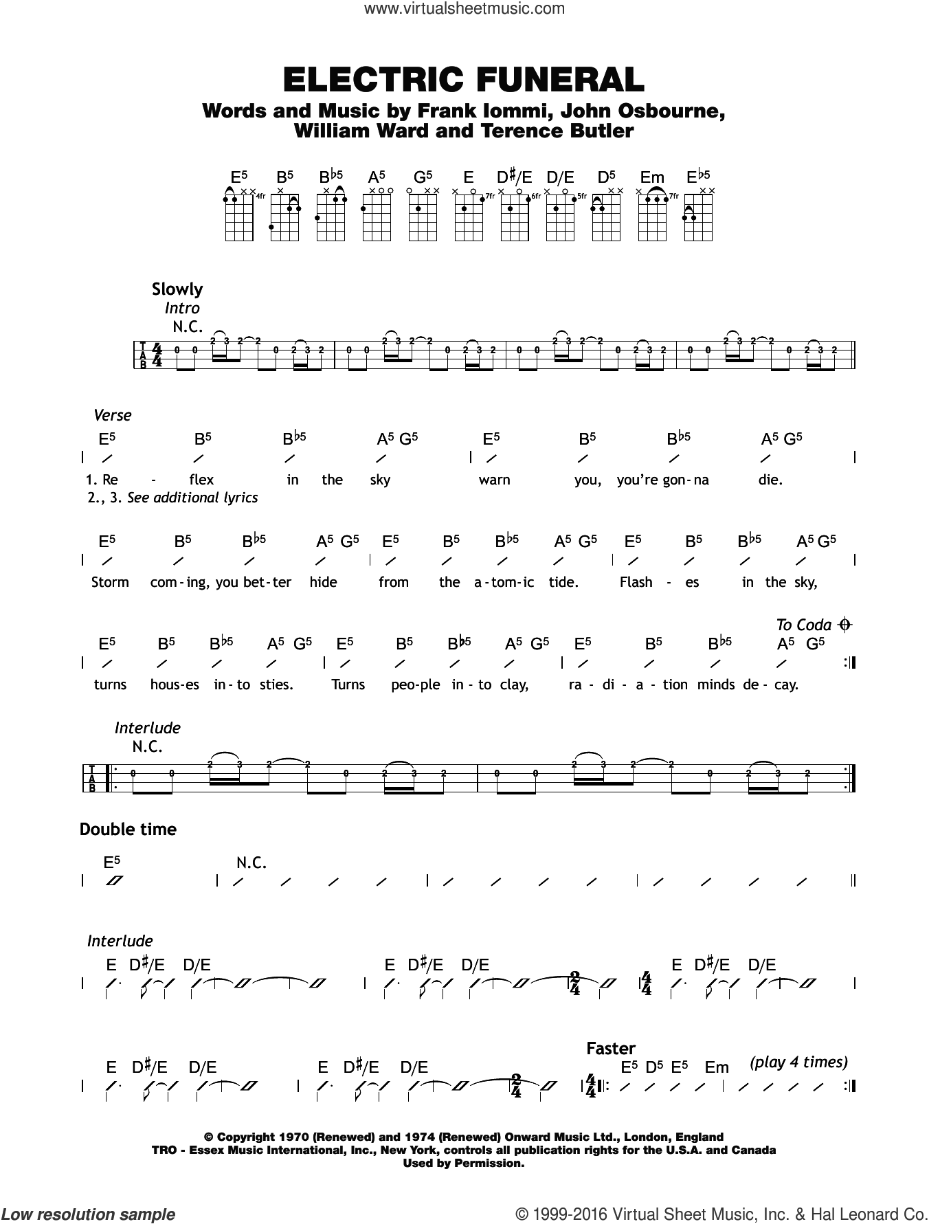Electric Funeral sheet music for ukulele (chords) by William Ward, Black Sabbath and Terrence Butler. Score Image Preview.