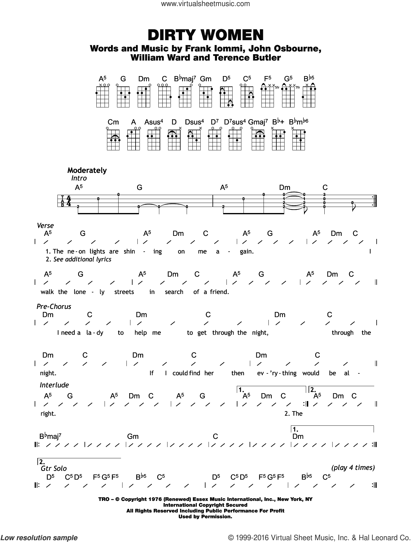 Dirty Women sheet music for ukulele (chords) by Black Sabbath, Billy Ward, Frank Iommi, John Osbourne and Terrence Butler, intermediate