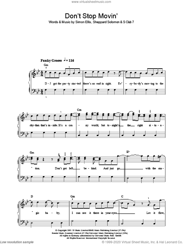 Don't Stop Movin' sheet music for voice, piano or guitar by Sheppard Solomon, S Club 7 and Simon Ellis