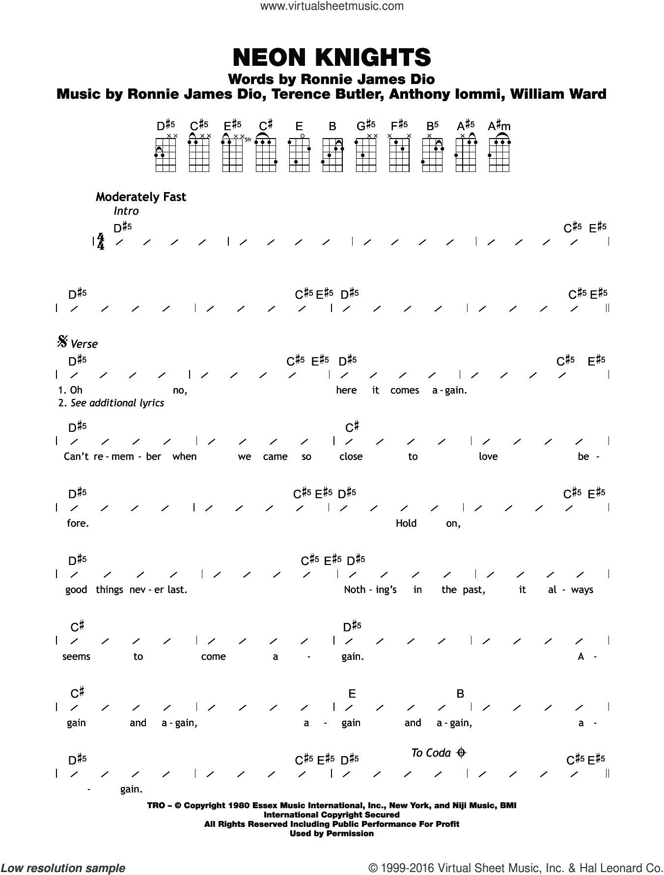 Neon Knights sheet music for ukulele (chords) by Black Sabbath. Score Image Preview.