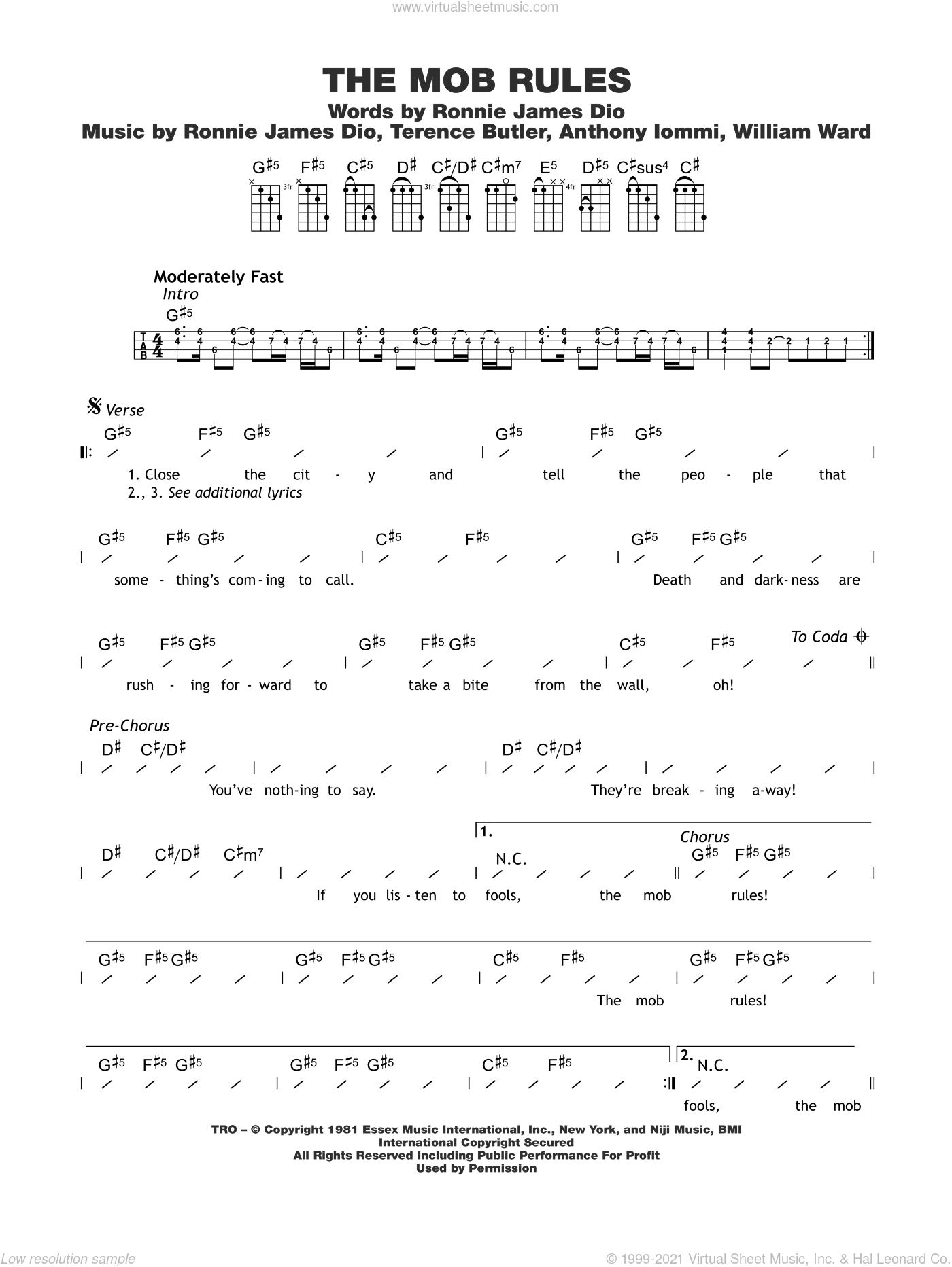 The Mob Rules sheet music for ukulele (chords) by Black Sabbath, Ronnie Dio, Terrence Butler and Tony Iommi, intermediate. Score Image Preview.