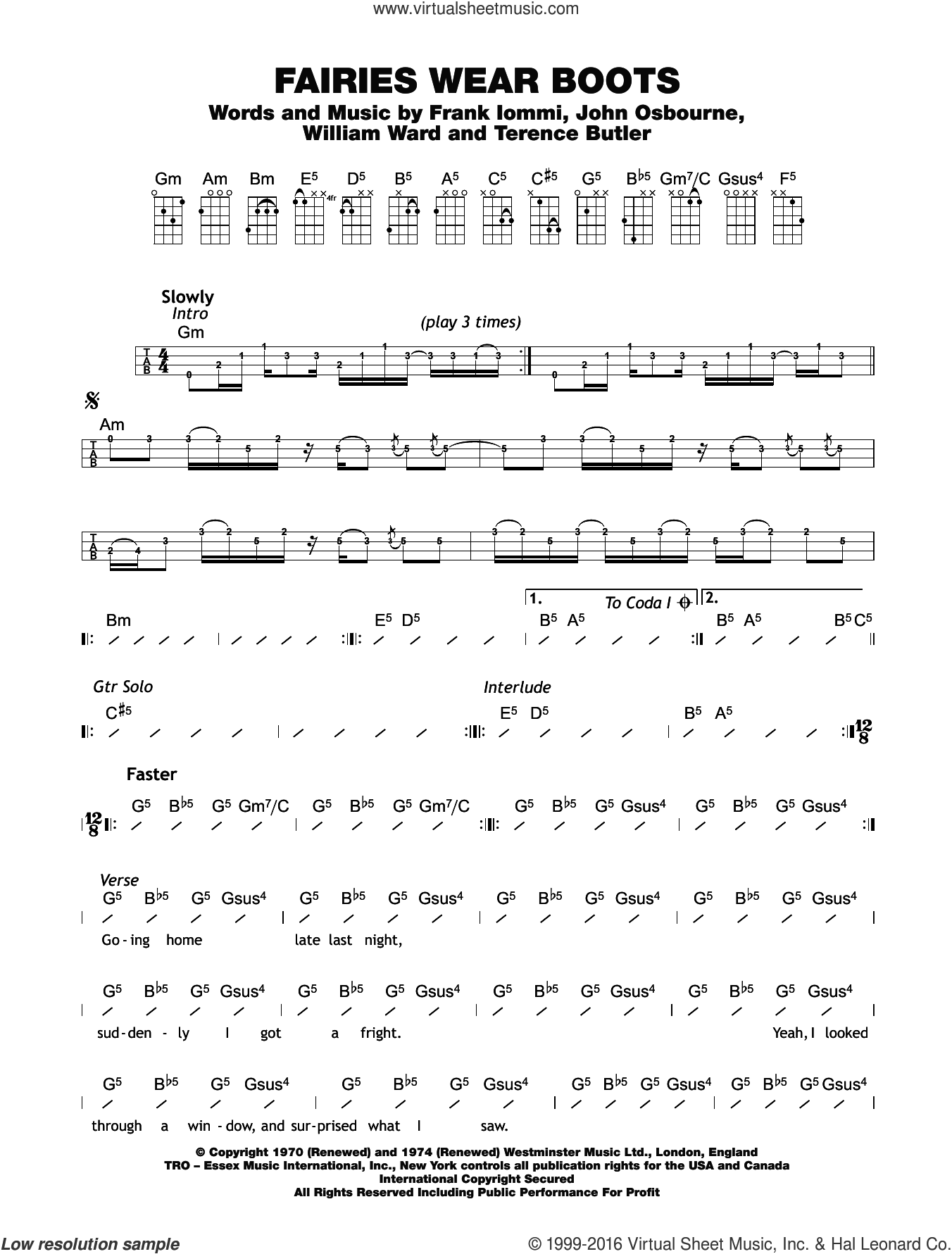 Fairies Wear Boots sheet music for ukulele (chords) by William Ward, Black Sabbath, Ozzy Osbourne, Terrence Butler and Tony Iommi. Score Image Preview.