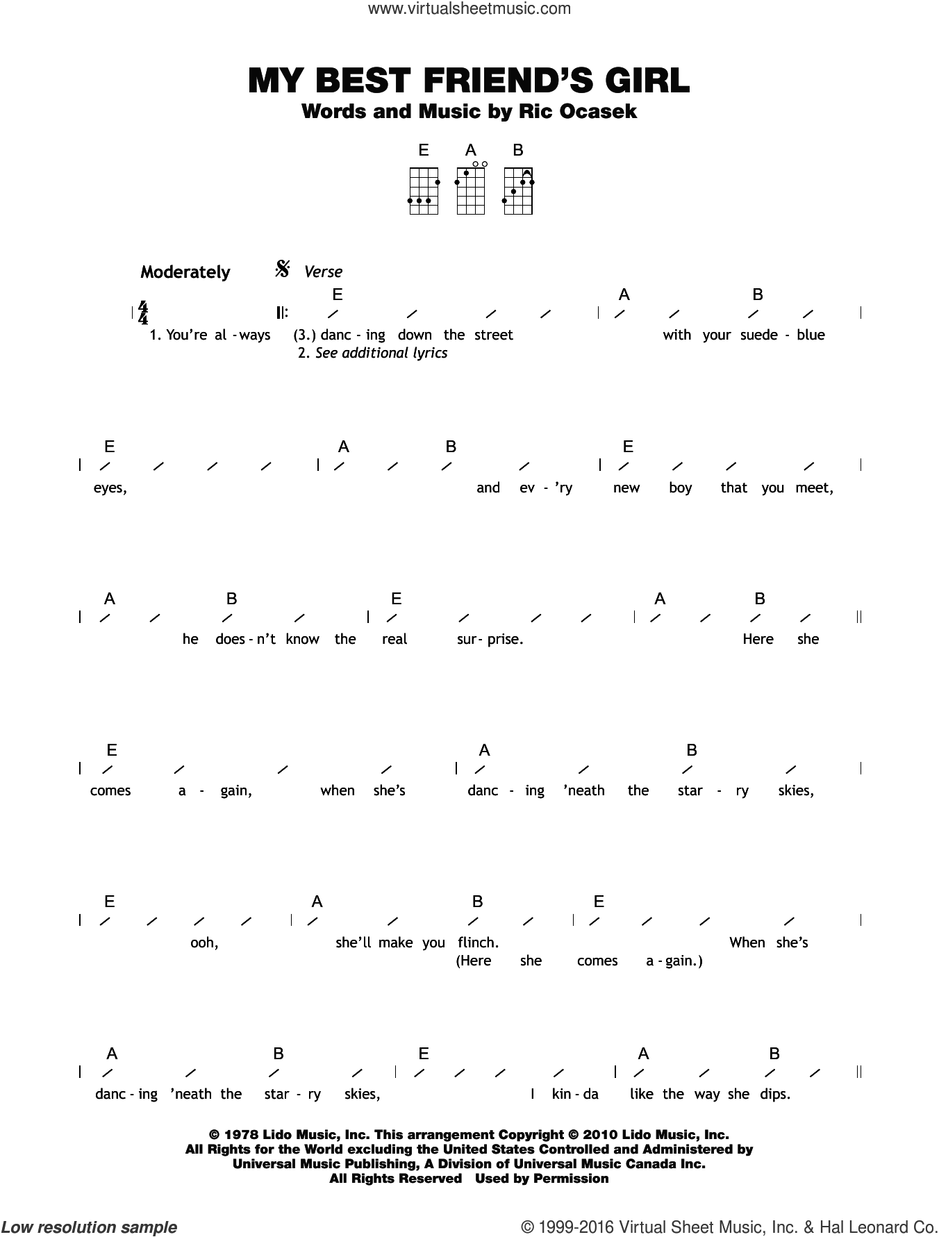 My Best Friend's Girl sheet music for ukulele (chords) by Ric Ocasek. Score Image Preview.