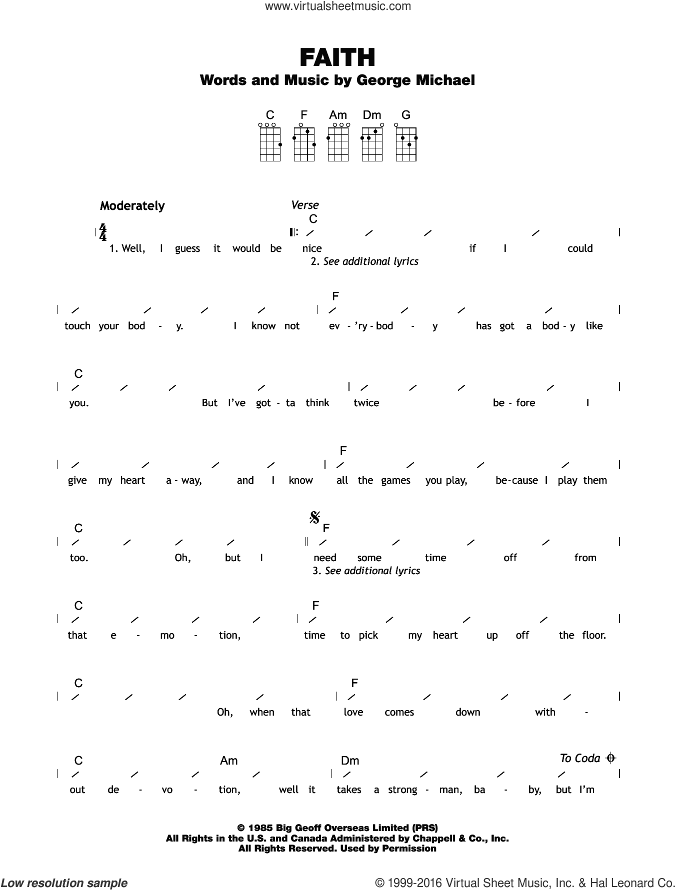 Faith sheet music for ukulele (chords) by George Michael. Score Image Preview.