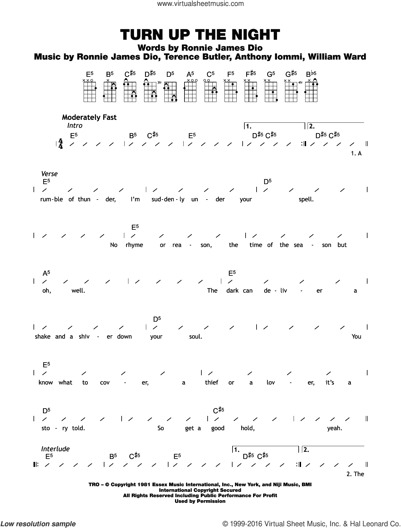 Turn Up The Night sheet music for ukulele (chords) by Black Sabbath, intermediate ukulele (chords). Score Image Preview.