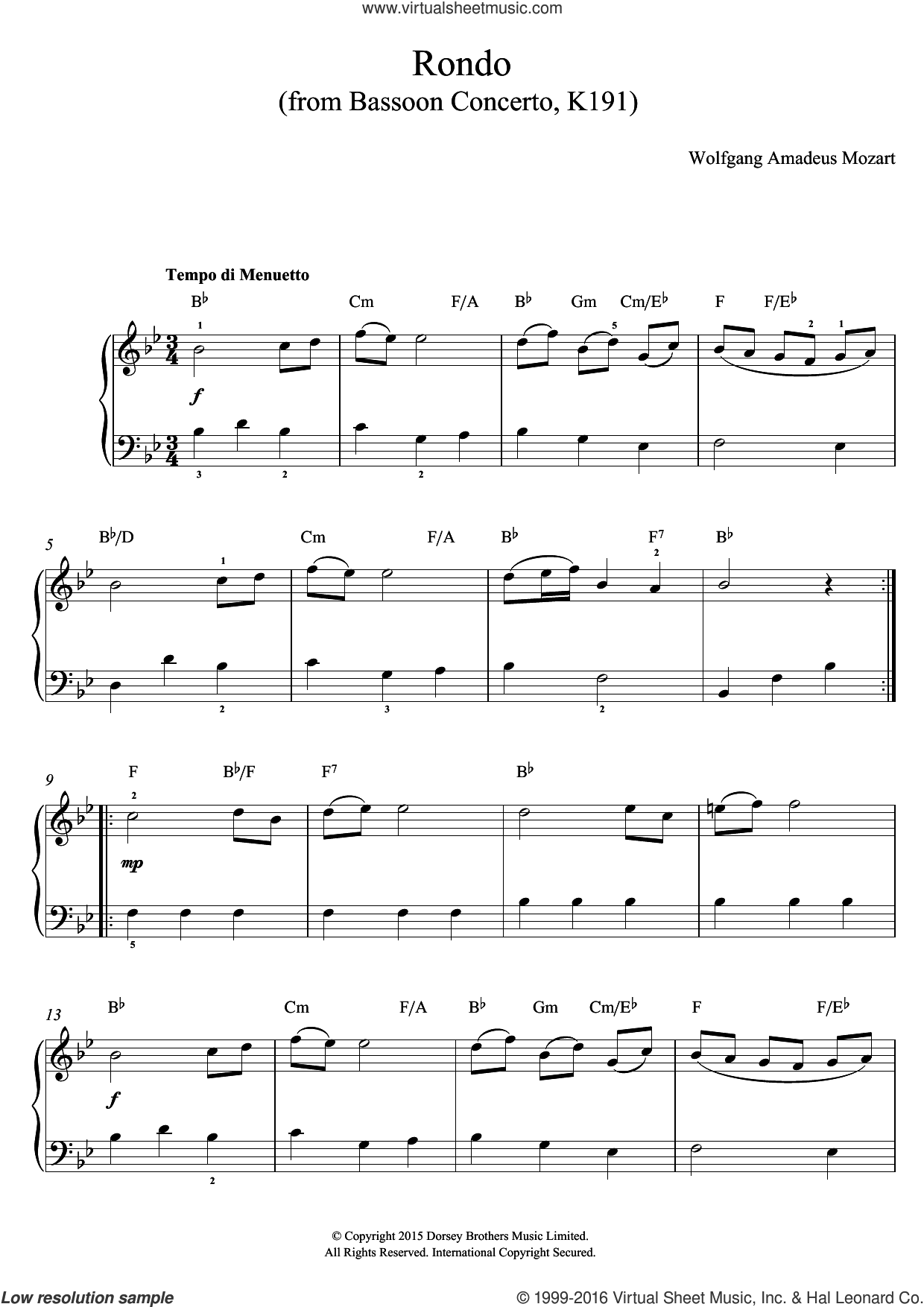 Rondo From Bassoon Concerto, K191 sheet music for voice, piano or guitar by Wolfgang Amadeus Mozart. Score Image Preview.