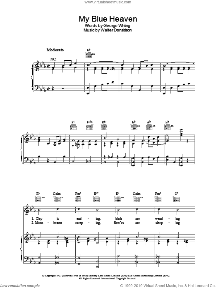 My Blue Heaven sheet music for voice, piano or guitar by George Whiting and Walter Donaldson. Score Image Preview.
