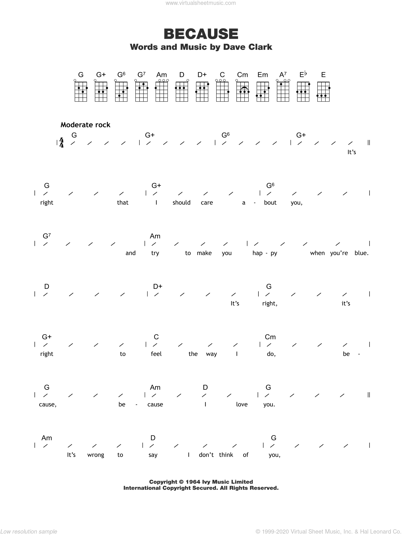 Because sheet music for ukulele (chords) by The Dave Clark Five and Dave Clark, intermediate skill level