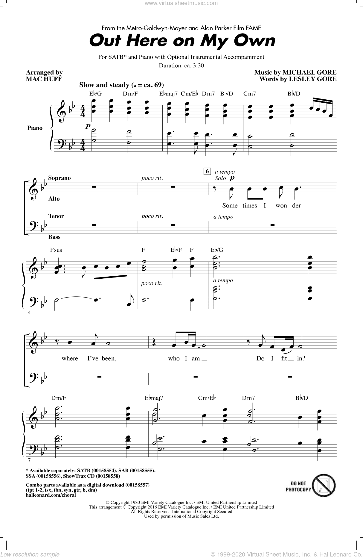 Out Here On My Own sheet music for choir (SATB: soprano, alto, tenor, bass) by Michael Gore, Mac Huff and Lesley Gore, intermediate