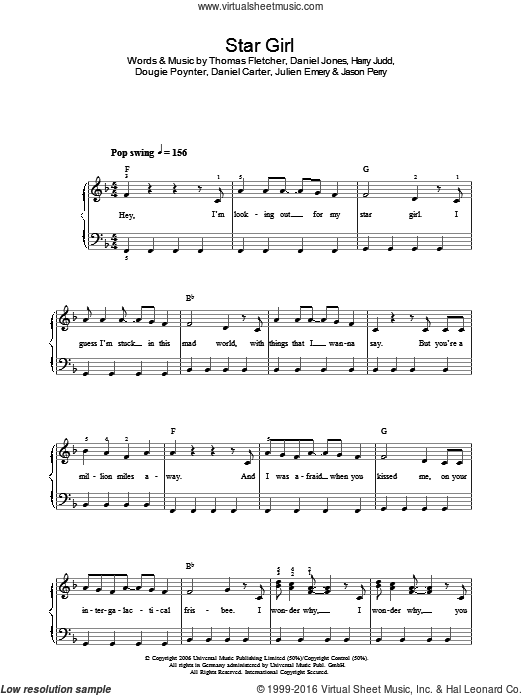 Star Girl sheet music for voice, piano or guitar by Daniel Carter, Danny Jones, Dougie Poynter, Jason Perry and Thomas Fletcher. Score Image Preview.