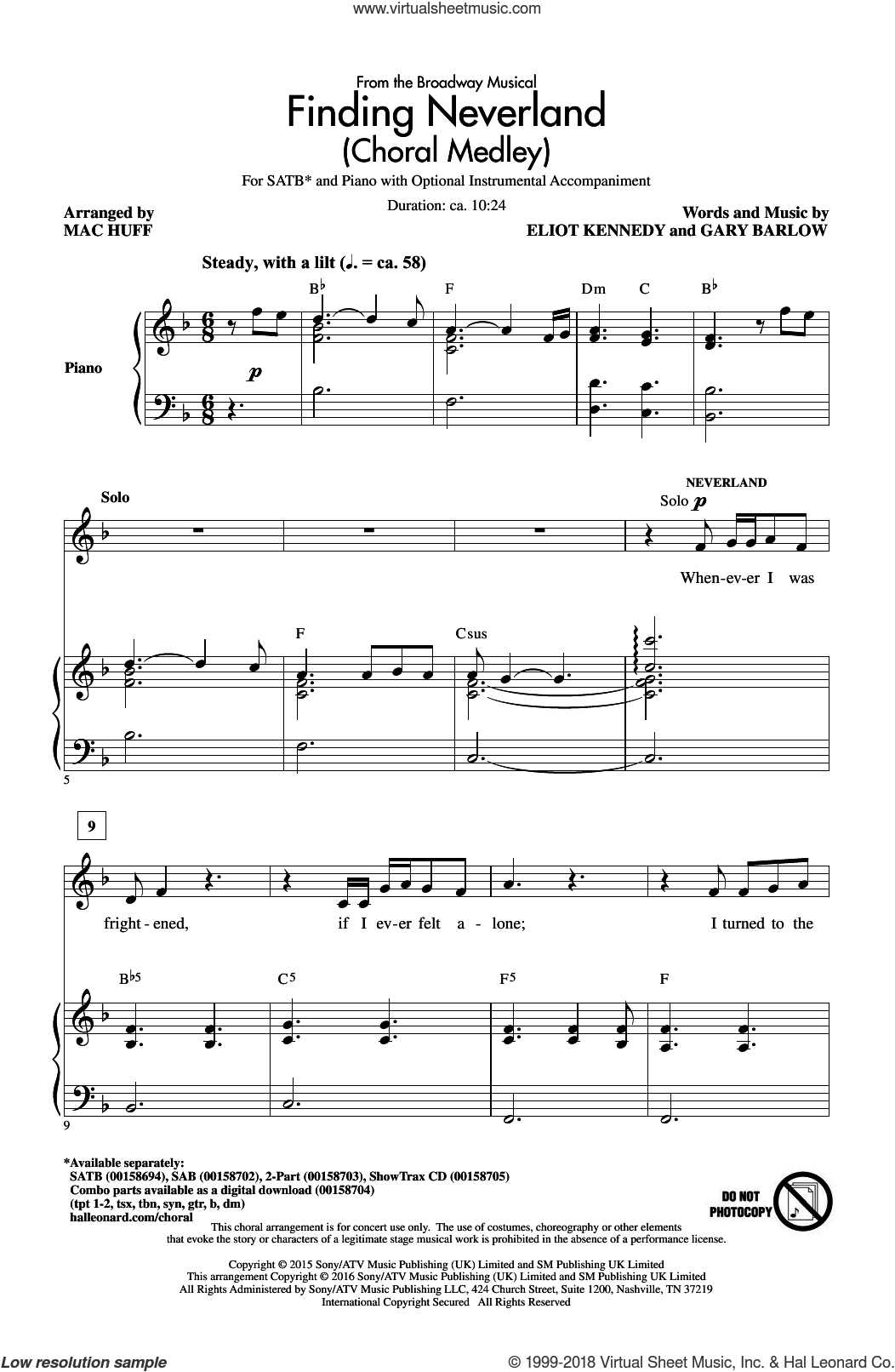 Finding Neverland (Choral Medley) sheet music for choir (SATB: soprano, alto, tenor, bass) by Gary Barlow, Mac Huff and Eliot Kennedy, intermediate